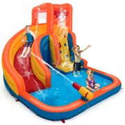 Gymax Inflatable Splash Water Bouncer Slide Bounce House with Climbing Wall & Water Hose