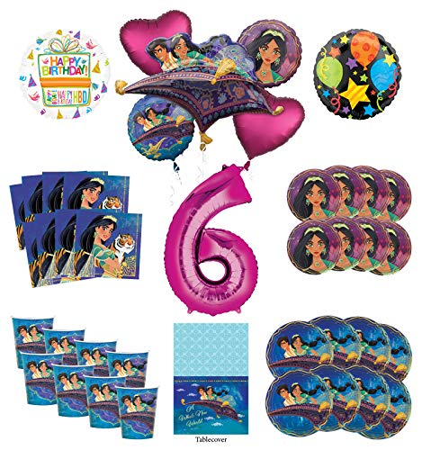 Mayflower Products Aladdin and Princess Jasmine 6th Birthday Party Supplies 8 Guest Decoration Kit and Balloon Bouquet - Pink Number - Jasmine Birthday Party Supplies