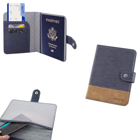 Mignova Leather Passport Holder Cover Case RFID Blocking Travel Walle(Navy