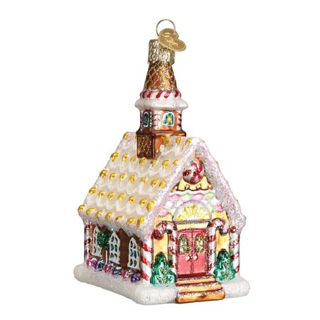 Gingerbread Church Glass Blown Ornament, Hand crafted in age-old tradition using techniques that originated in the 1800's By Old World - Glass Hand Painted Xmas Ornament