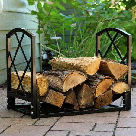 Sunnydaze 2-Foot Log Rack Firewood Storage, Heavy-Duty Steel with Diamond Design, Indoor/Outdoor ()