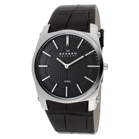 Skagen 859lslb 36mm Stainless Steel Case Black Leather Anti-Reflective Sapphire Men's Watch