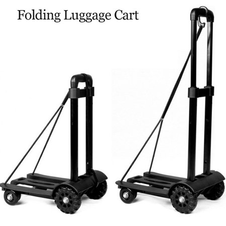Heavy Duty Foldable Utility Luggage Cart, Portable Fold Up Dolly Trolley Car, Small Mini Shopping Hand Truck, 150 lbs Maximum Load, for Luggage, Personal, Travel, Moving and Office