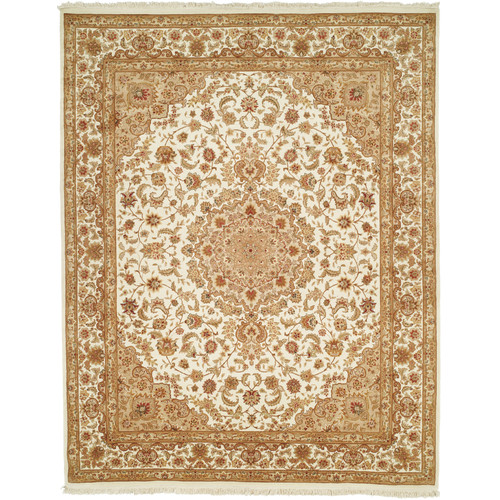 Astoria Grand Della Hand-Knotted Wool Ivory Area Rug