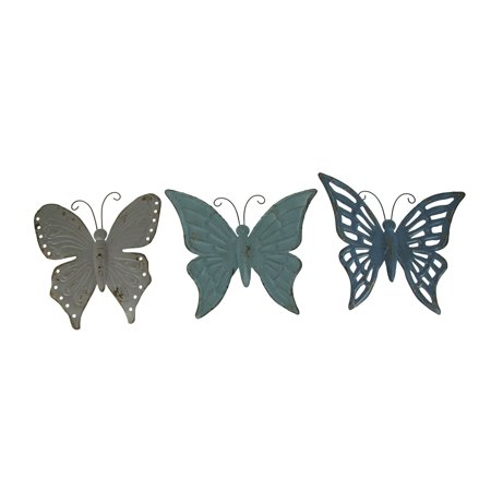 Blue and Grey Metal Art Butterfly Indoor Outdoor Wall Sculpture Set of 3 ()
