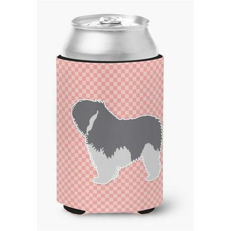 Polish Lowland Sheepdog Dog Checkerboard Pink Can or Bottle Hugger