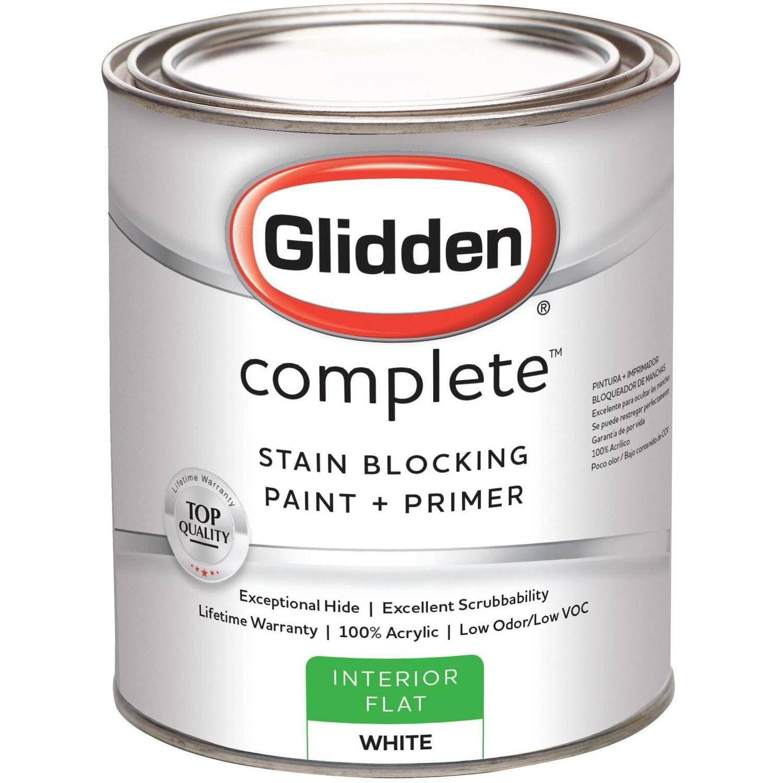 Glidden Complete, Interior Paint, Flat Finish, Ready Mix White, 1 Quart