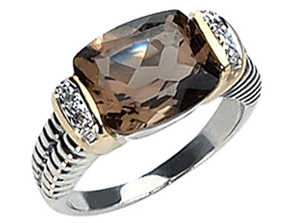 Sterling Silver and 14K Smokey Quartz and Diamond Ring