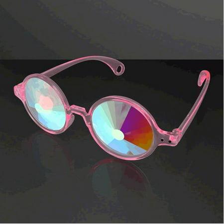 Clear Pink Frame Far Out Kaleidoscope Wheel Of Wonder Lense Glasses By Blinkee