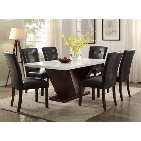 Marble Top Solid Wood (Acme Forbes White Marble Top Dining Table )