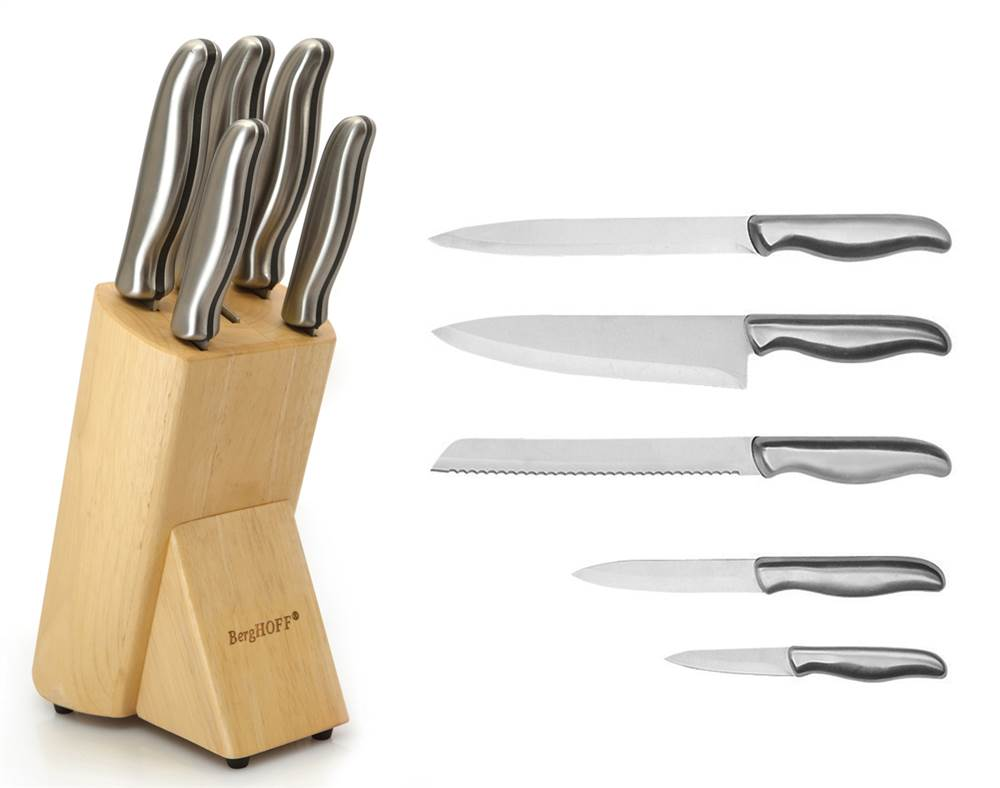 6-Pc Hollow Handle Knife Block Set in Silver by BergHOFF International Inc.