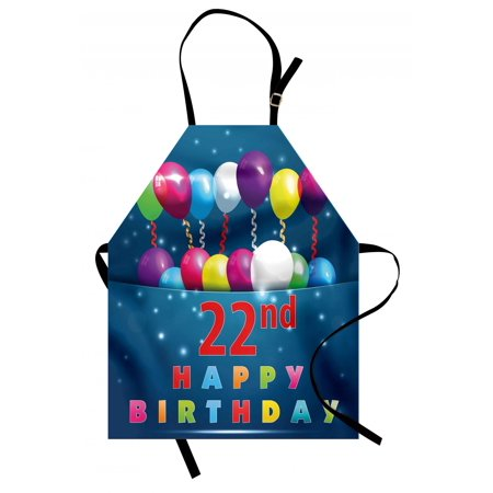 22nd Birthday Apron Party Birth with Colorful Balloons Wishes and Joyful Occasion Image Print, Unisex Kitchen Bib Apron with Adjustable Neck for Cooking Baking Gardening, Multicolor, by