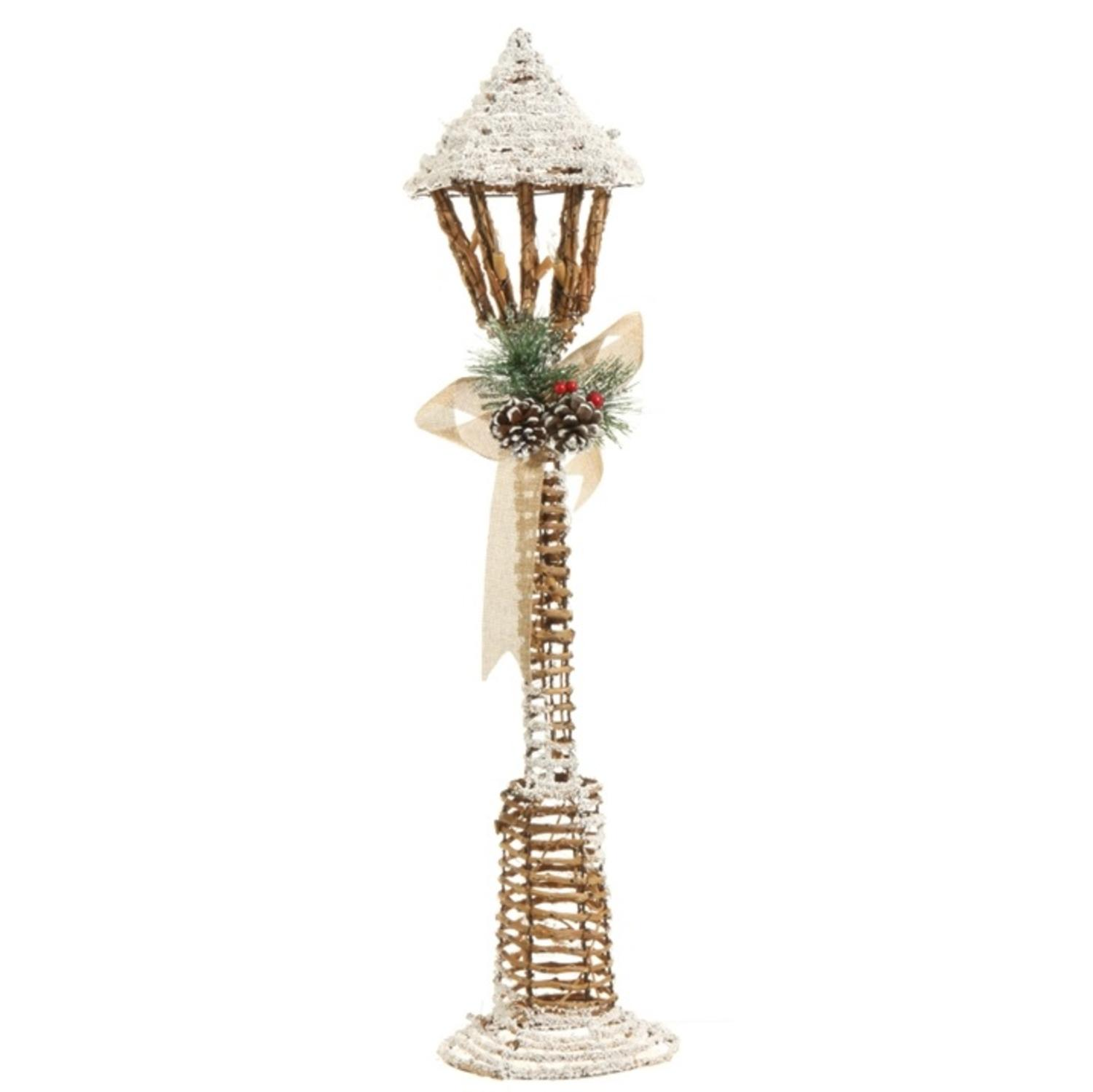"""27.5"""" Country Cabin Frosted Brown Country Rustic Lighted Lamp Post Christmas Decoration"""
