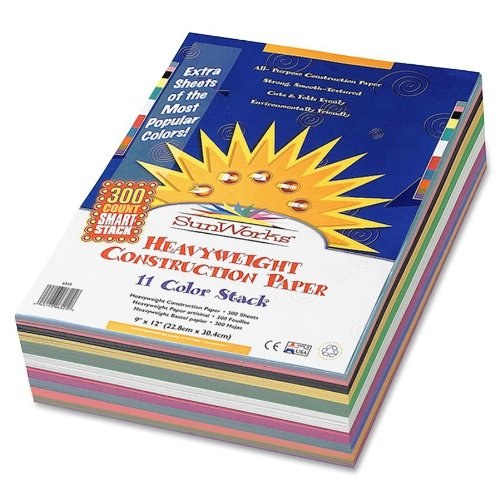 SunWorks Smart-Stack Construction Paper 9 x 12 Inches 11 Colors 300 Count  (6525)