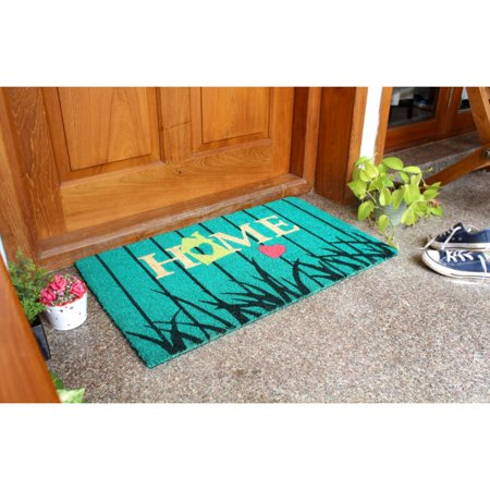 RugSmith Ice Green Machine Tufted Bird House Home Coir Doormat, 18