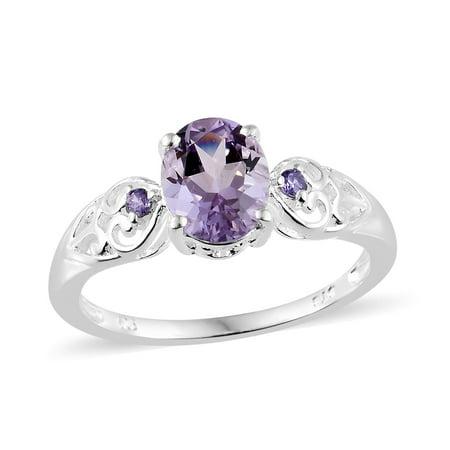Silver Pink Amethyst Purple Cubic Zirconia Heart Wedding Bridal Ring