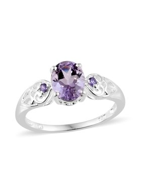 Silver Pink Amethyst Purple Cubic Zirconia Heart Wedding Bridal Ring