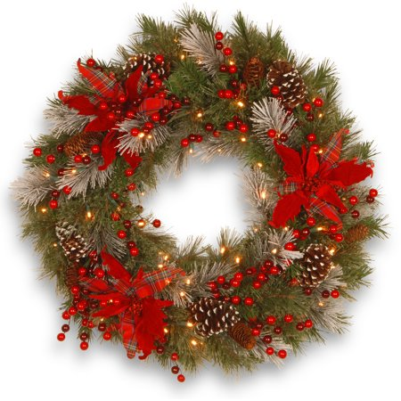National Tree 24 Decorative Collection Tartan Plaid Wreath with Cones, Red Berries and Poinsettias with 50 Soft White Battery Operated LEDs with Timer