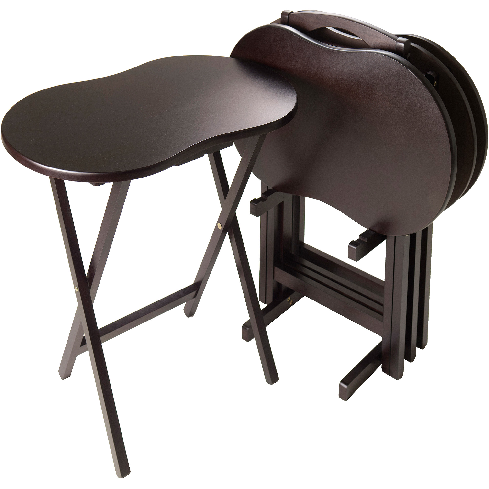 Skippy 5-Piece TV Table Set Peanut Top, Espresso