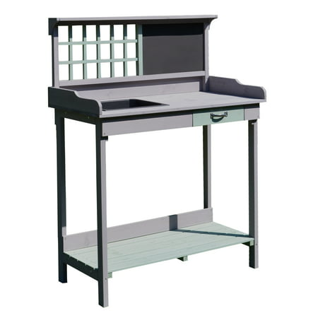 Outsunny Fir Wood Potting Bench with Sink - Dark Gray