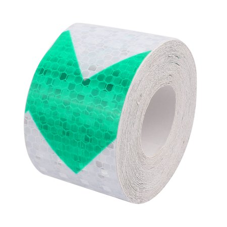 Green White Arrow Honeycomb Reflective Warning Tape 5cm Width 10m Leng