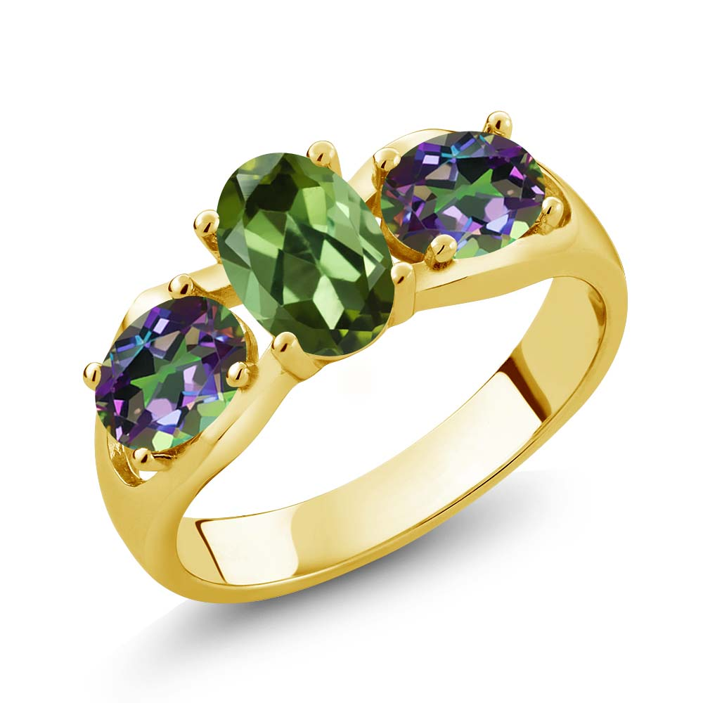 1.70 Ct Oval Green Tourmaline Green Mystic Topaz 14K Yellow Gold Ring by