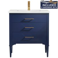 """Design Element Mason 30"""" Single Sink Bathroom Vanity in Blue with Two Sets of Hardware"""