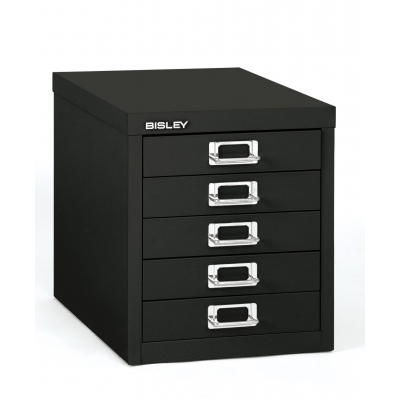 Bisley 5-Drawer Steel Desktop Multidrawer Storage Cabinet, Black BDSMD5BK by Bindertek