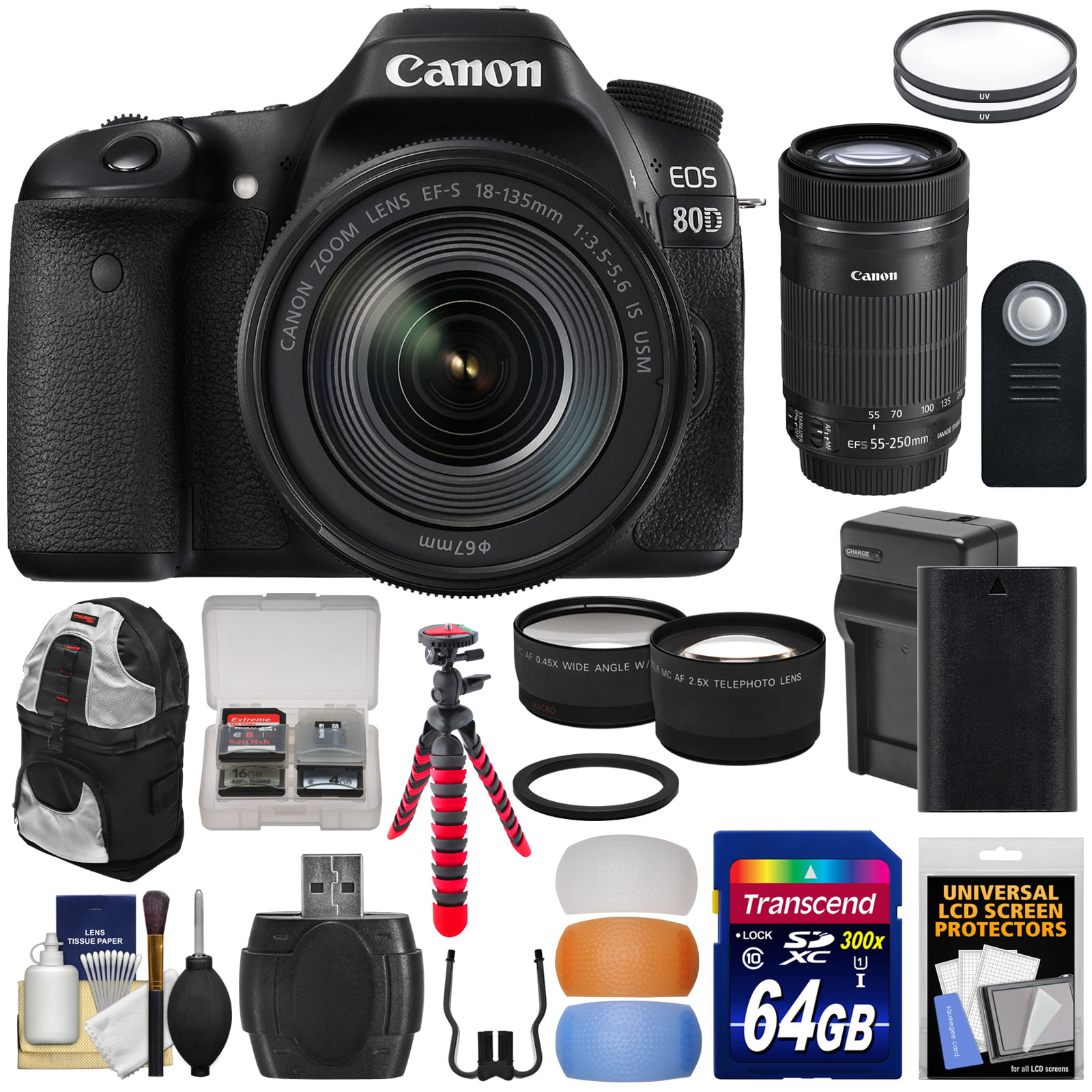 Canon EOS 80D Wi-Fi Digital SLR Camera & 18-135mm IS USM with 55-250mm IS STM Lens + 64GB Card + Battery & Charger +... by Canon