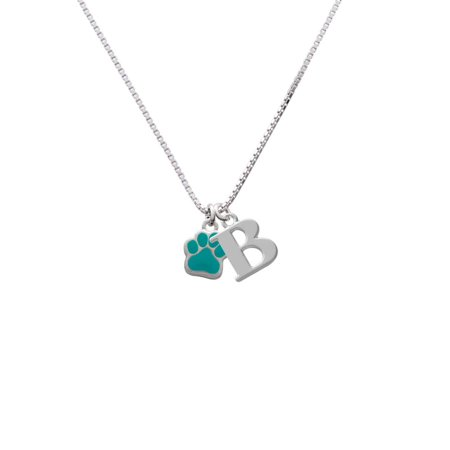 - Silvertone Small Teal Paw - B - Initial Necklace