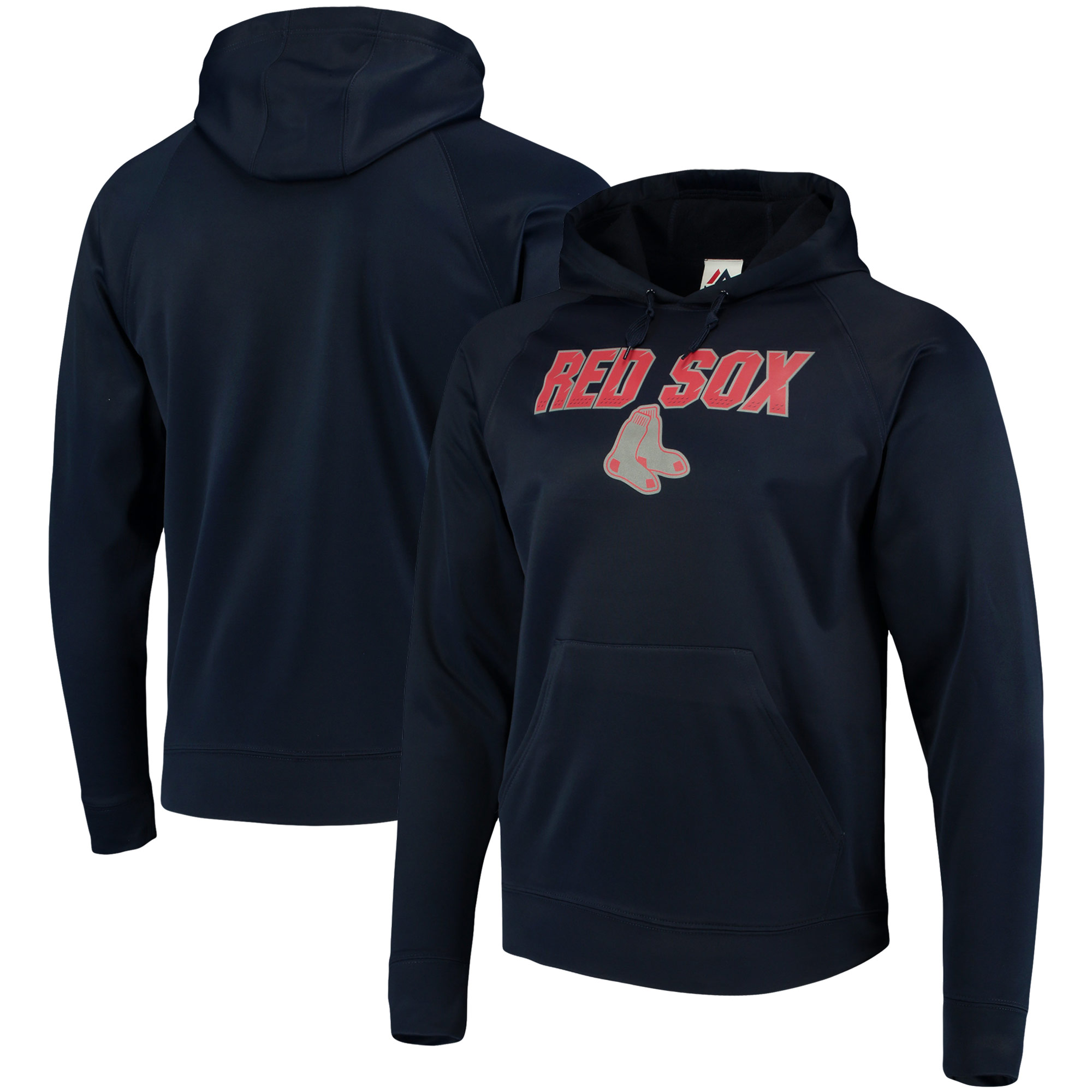 Boston Red Sox Majestic Synthetic Fleece Pullover Hoodie - Navy