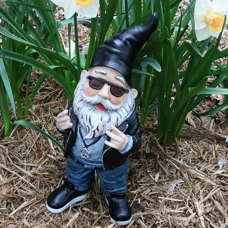 Sunnydaze Garden Gnome Randy the Rebel Biker Lawn Statue, Outdoor Yard Ornament, 14 Inch Tall](Lawn Gnome)