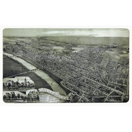 Old Map of Wilkes Barre Pennsylvania 1889 County Canvas Art -  (18 x 24) ()