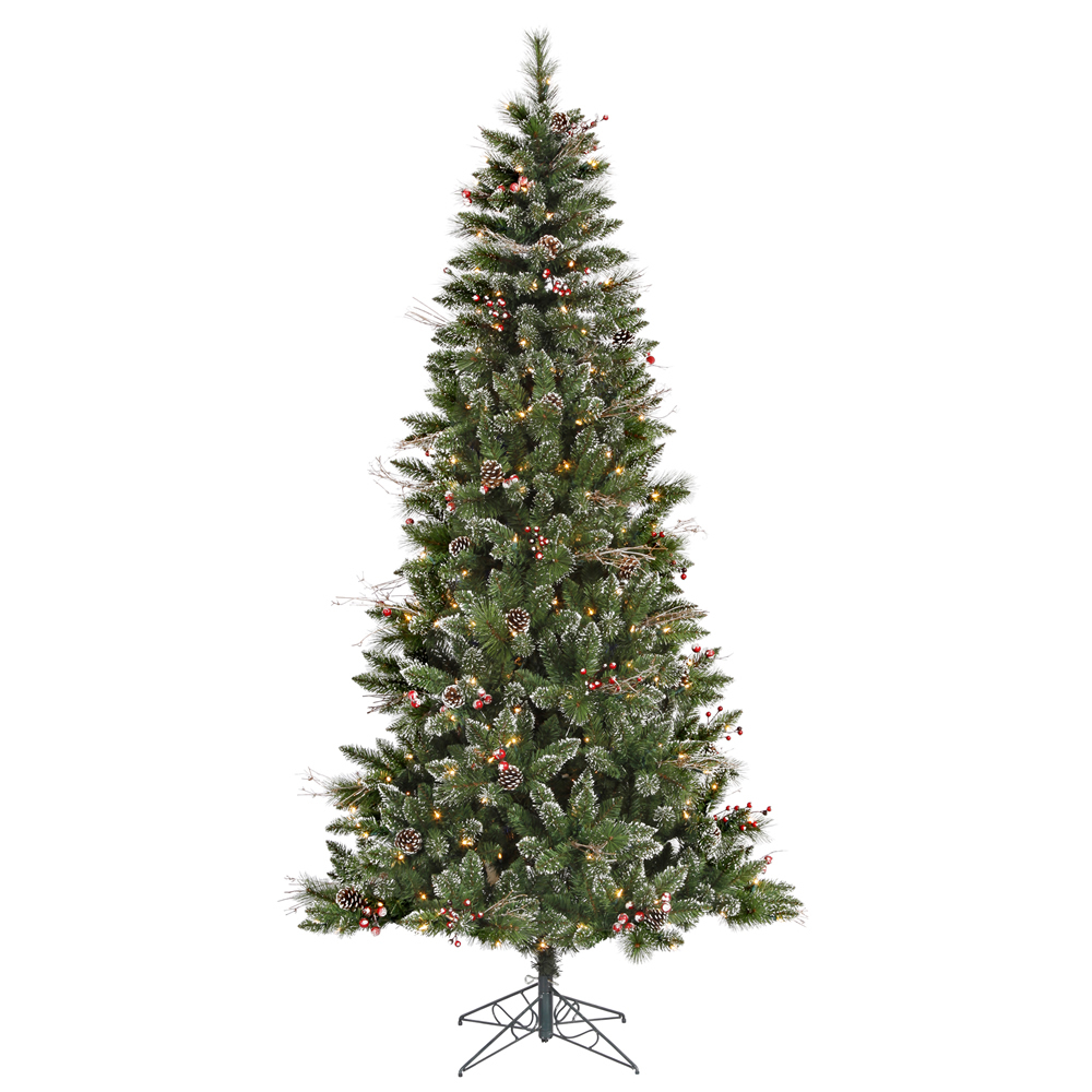 4.5' Pre-Lit SnowTip Berry Artificial Christmas Tree - Clear Mini Lights