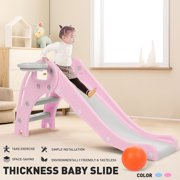 2in 1 Slide for Kids, 55 inch Foding Toddler Climber Slide Easy Set Up with Long Slipping Slope, Basketball Hoop and Balls,Indoor Outdoor Playground Toys
