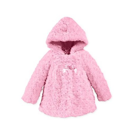 London Fog Infant Girls Pink Rosette Faux Fur Jacket Lightweight - Light Pink Coat