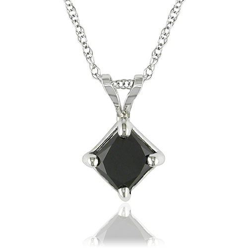 "10kt White Gold 1 Carat Princess Cut Black Diamond Pendant, 17"" (5.5mm)"