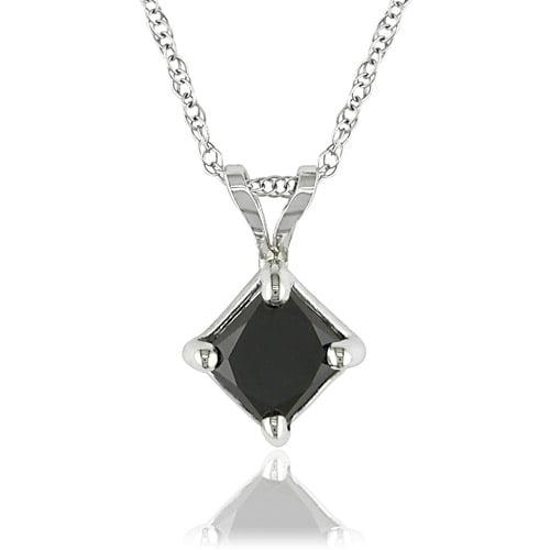 "Asteria 10kt White Gold 1 Carat Princess Cut Black Diamond Pendant, 17"" (5.5mm)"