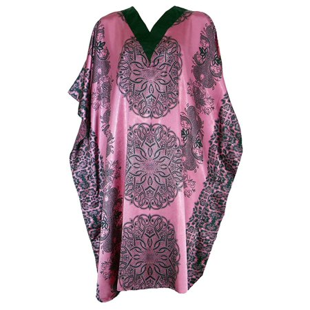 Up2date Fashion's Women's Satin Short Caftan / Kaftan, Pink Mandala Print