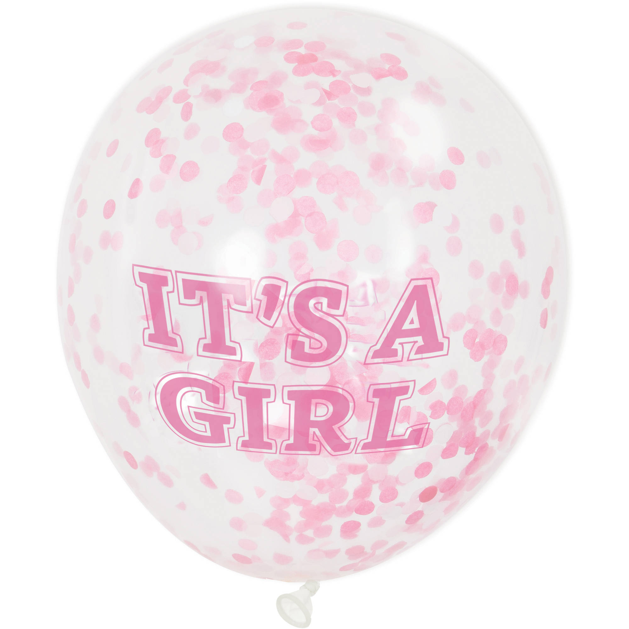 """""""It's A Girl"""" Confetti Balloons, Pink, 12in, 6ct"""