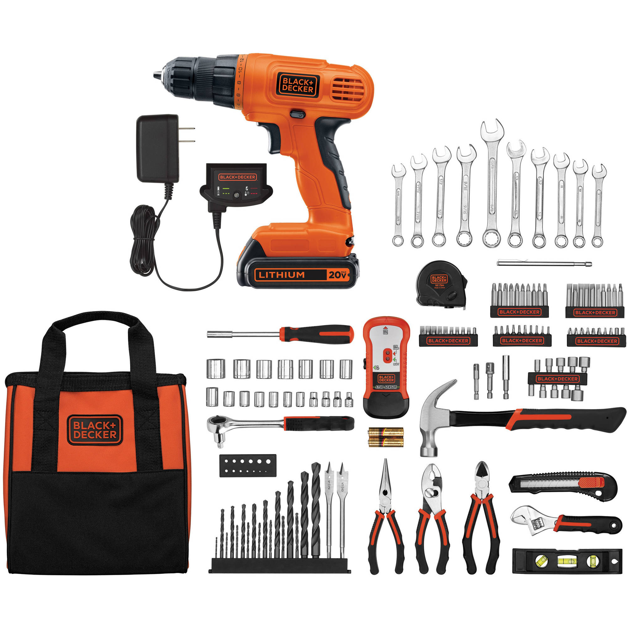 black and decker 20v lithium drill driver with 128 piece project kit 885911491808 ebay. Black Bedroom Furniture Sets. Home Design Ideas