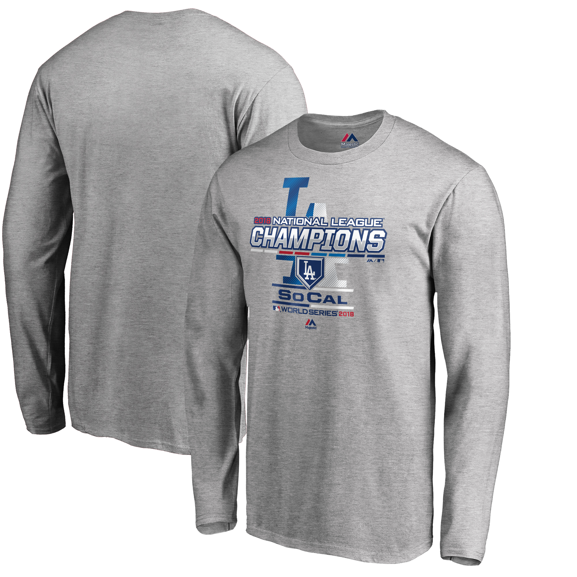 Los Angeles Dodgers Majestic 2018 National League Champions Locker Room Long Sleeve T-Shirt - Heather Gray