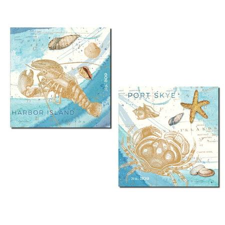 Harbor Island Crab Loster and Sea Shell Set; Coastal Decor; Two 12x12in Poster Prints. Light (Coastal Harbor Light)