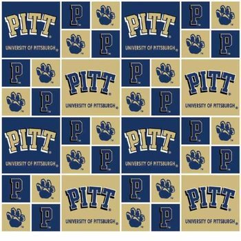 University of Pittsburgh Fabric Fine Cotton Classic Geometric Design-Sold by the Yard
