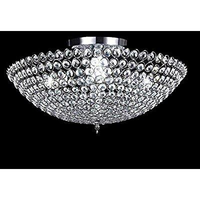 new legend 3-light bowl-shaped chrome finish metal and crystal shade crystal chandelier flush mount ceiling light - Legend Flush Mount