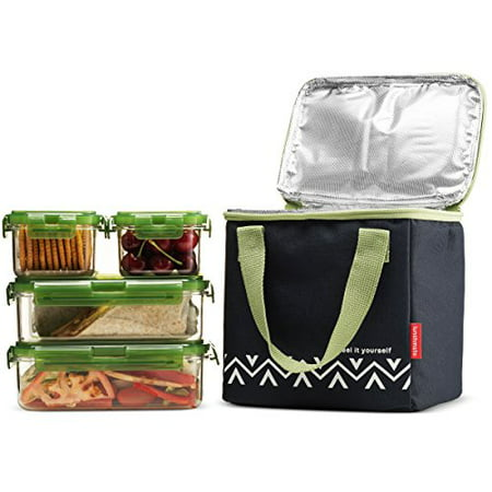 Microwave Lunch Box - Komax Lunchmate Bento Lunch Bag and Box Kit - 1 Insulated Bag with 4 Reusable Tritan Food Storage Containers - Dishwasher, Freezer and Microwave Safe Bpa Free Plastic With Locking Lids