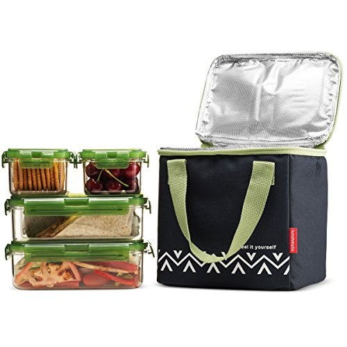 Komax Lunchmate Bento Lunch Bag and Box Kit - 1 Insulated Bag with 4 Reusable Tritan Food Storage Containers - Dishwasher, Freezer and Microwave Safe Bpa Free Plastic With Locking Lids