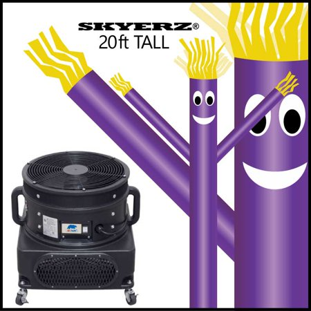 Skyerz 20' ft Purple Inflatable Advertising Sky Air Dancing Tube Man Air Puppet with 3/4 HP Inflatable Sky Dancing Blower