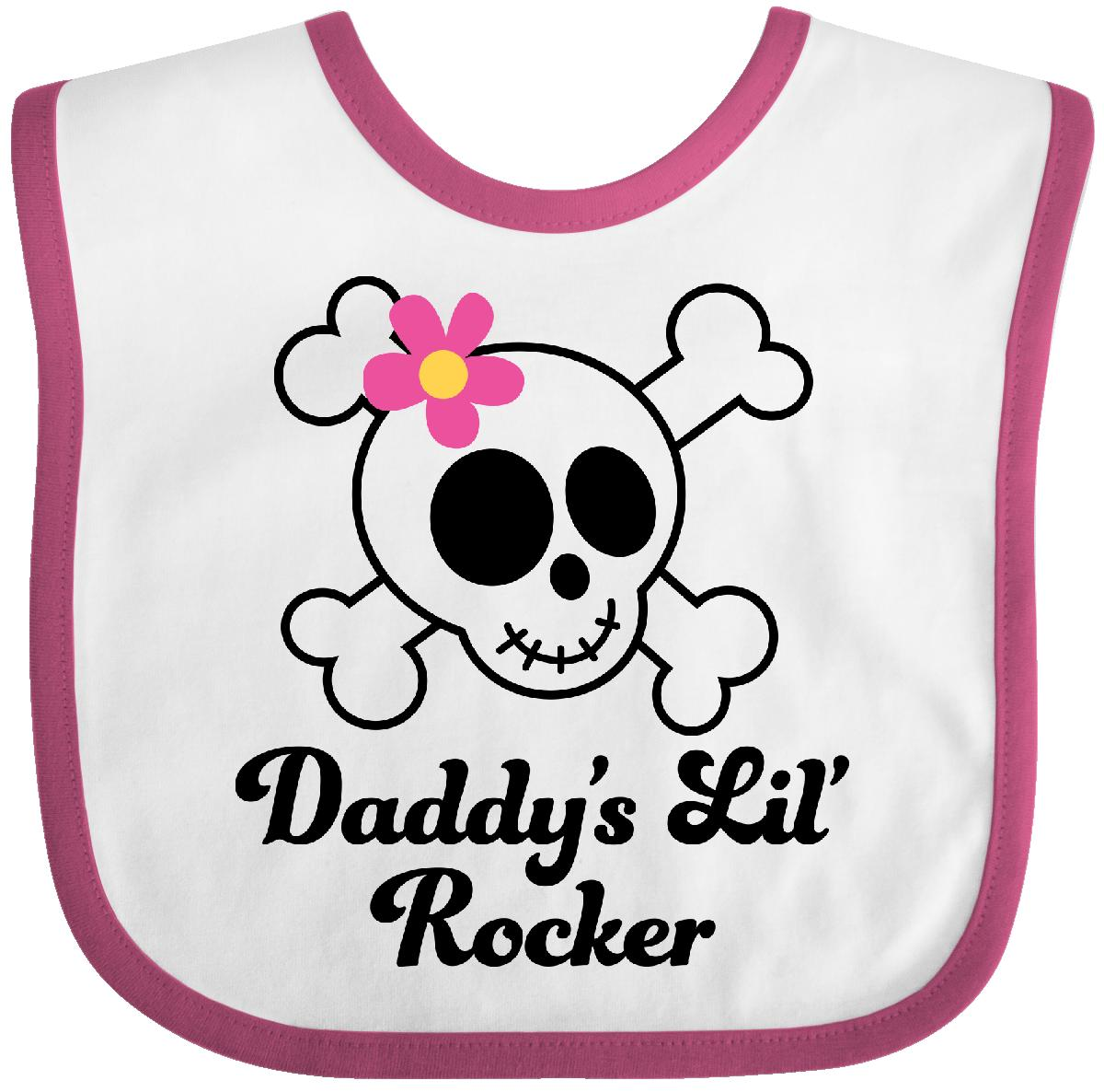 Inktastic Daddy's Little Rocker Skull Baby Bib lil girls cute rock and crossbones funny gift clothing infant hws