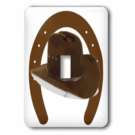 3dRose Large Brown Horseshoe With Brown Cowboy Hat - Single Toggle Switch (lsp_38993_1)